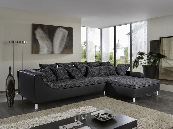 Eckcouch grau schwarz  Eckcouch Madeleine 326x213cm Webstoff schwarz-grau Kunstleder ...